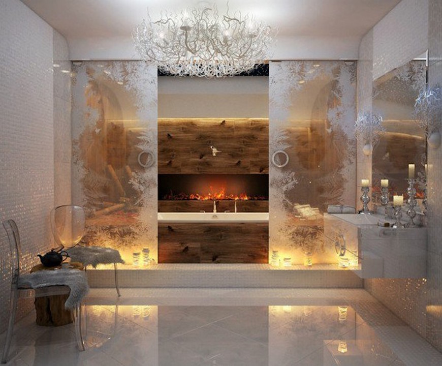 15 Luxury Bathrooms with Astonishing Fireplaces. To see more Luxury Bathroom ideas visit us at www.luxurybathrooms.eu #luxurybathrooms #homedecorideas #bathroomideas @BathroomsLuxury
