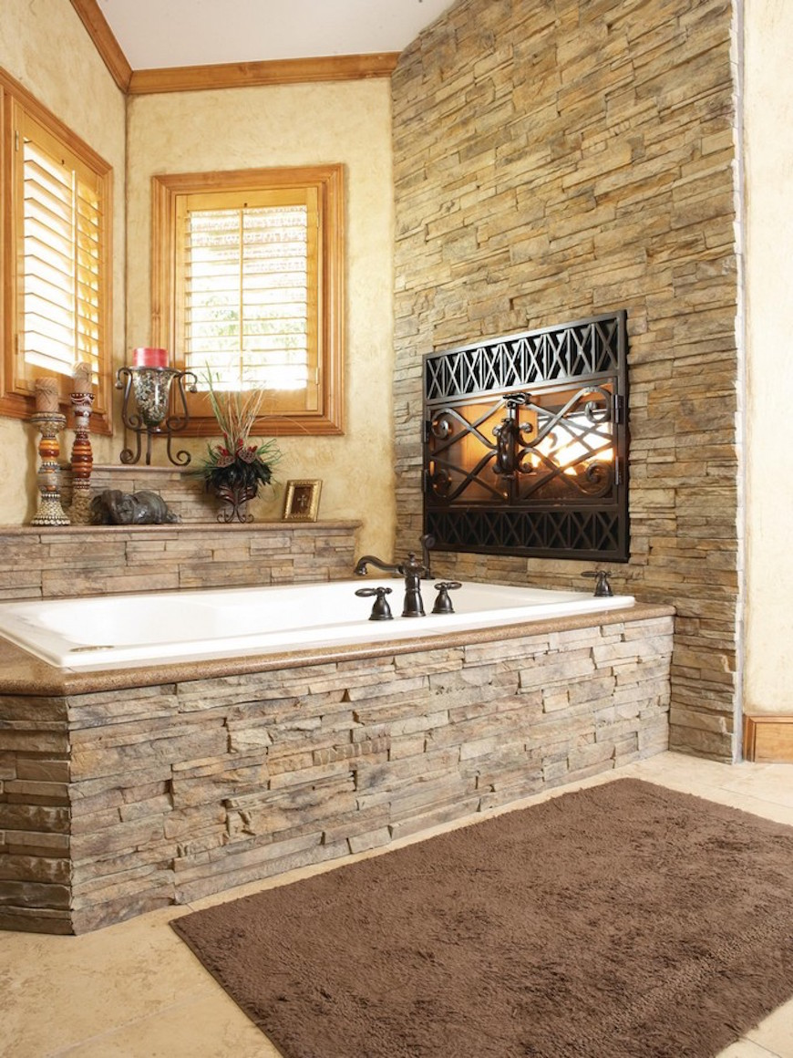 15 Luxury Bathrooms with Astonishing Fireplaces. To see more Luxury Bathroom ideas visit us at www.luxurybathrooms.eu #luxurybathrooms #homedecorideas #bathroomideas @BathroomsLuxury 15 luxury bathrooms with astonishing fireplaces 15 Luxury Bathrooms with Astonishing Fireplaces 15 luxury bathrooms with fireplaces 2