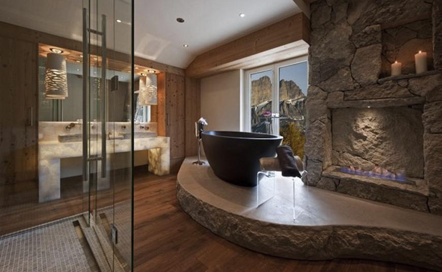 15 luxury bathrooms with astonishing fireplaces for Luxury bathrooms 2016