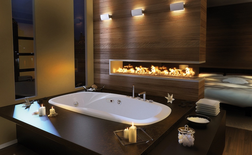 10 mesmerizing luxury bathrooms with fireplaces that you for Luxury bathrooms 2016