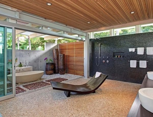 Luxurious Bathrooms: The most stunning natural rock bathtubs 30 most creative bathrooms Luxury bathrooms: top 30 most creative bathrooms (Part 2) Tropical Maui Residence Bossley Architects 13 1 Kindesign 600x460