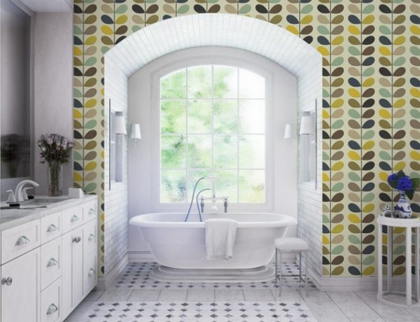 luxury bathroom 50 Unique Accessories To Make Your Luxury Bathroom Sparkle Even More orla kiely 4 600x460