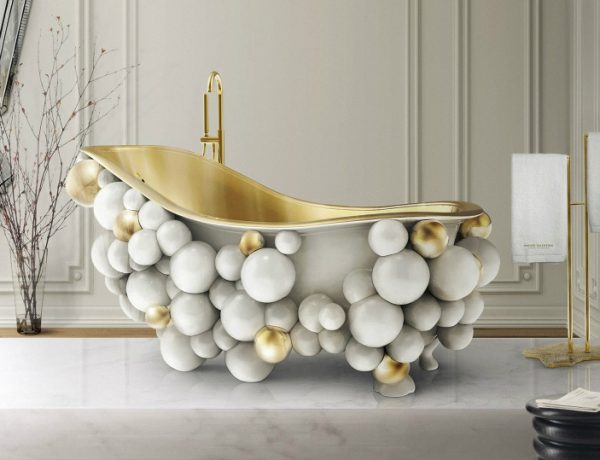 all-white bathrooms Discover The Finest Selection Of 30 All-White Bathrooms – Part 1 13 newton bathtub eden towel rack venice mirror tiffany stool maison valentina 1 feat 600x460