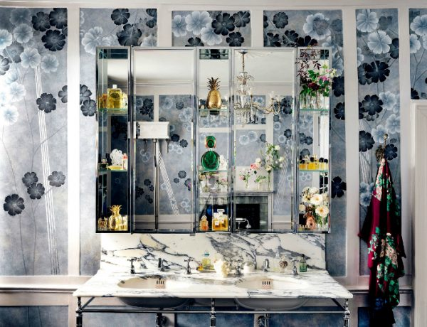 bathroom wallpaper This Vibrant Bathroom Wallpaper by Kate Moss Is Out of this World featured 12 600x460