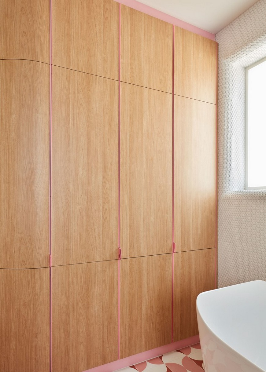 This Bathroom Design in a Melbourne Home Features Funky Shades of Pink 2