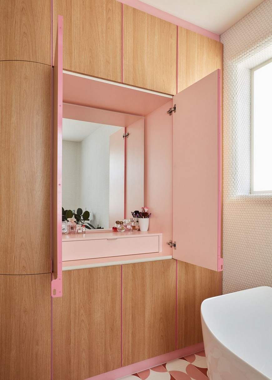 This Bathroom Design in a Melbourne Home Features Funky Shades of Pink 3
