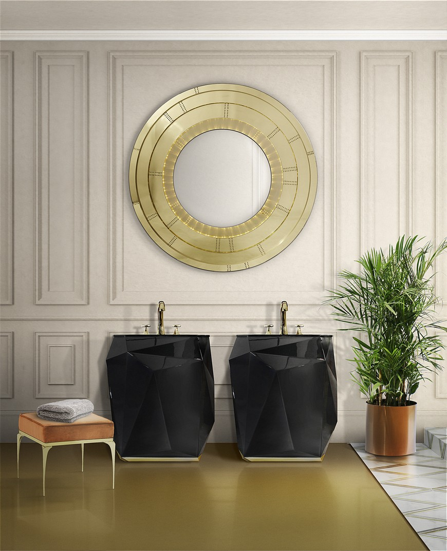 This Contemporary Gold Mirror Does Wonders for a Bathroom Interior 2 Gold Mirror This Contemporary Gold Mirror Does Wonders for a Bathroom Interior This Contemporary Gold Mirror Does Wonders for a Bathroom Interior 2