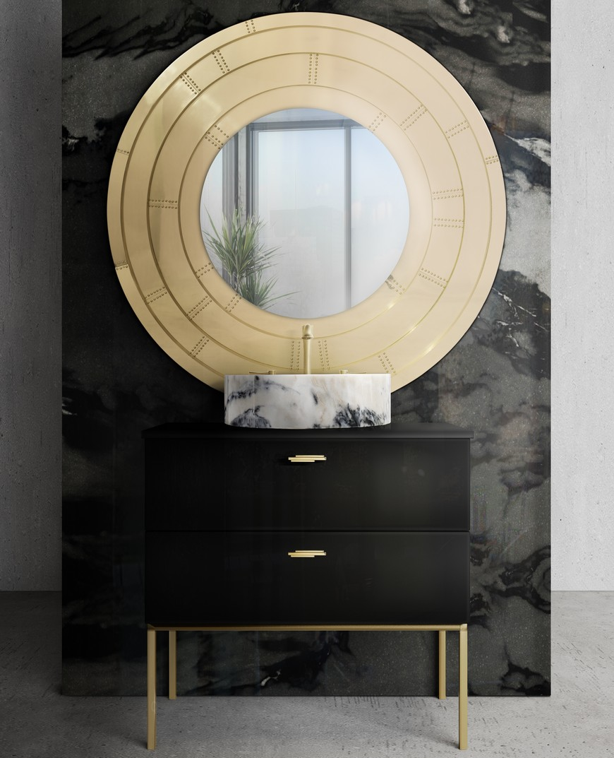 Gold Mirror This Contemporary Gold Mirror Does Wonders for a Bathroom Interior This Contemporary Gold Mirror Does Wonders for a Bathroom Interior 3